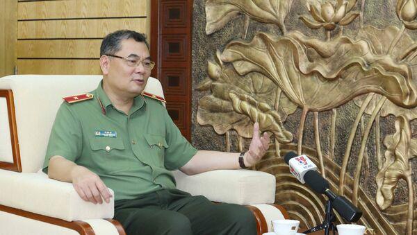 Thiếu tướng Tô Ân Xô, Chánh Văn phòng kiêm người phát ngôn Bộ Công an Việt Nam tại buổi trả lời phỏng vấn. - Sputnik Việt Nam