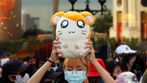 Cô gái với chú chuột hamster Hamtaro trong cuộc biểu tình ở Bangkok - Sputnik Việt Nam