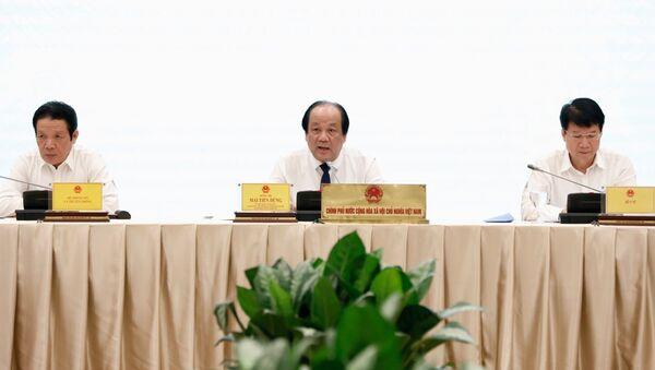 Bộ trưởng, Chủ nhiệm Văn phòng Chính phủ, Người Phát ngôn Chính phủ Mai Tiến Dũng chủ trì Họp báo - Sputnik Việt Nam