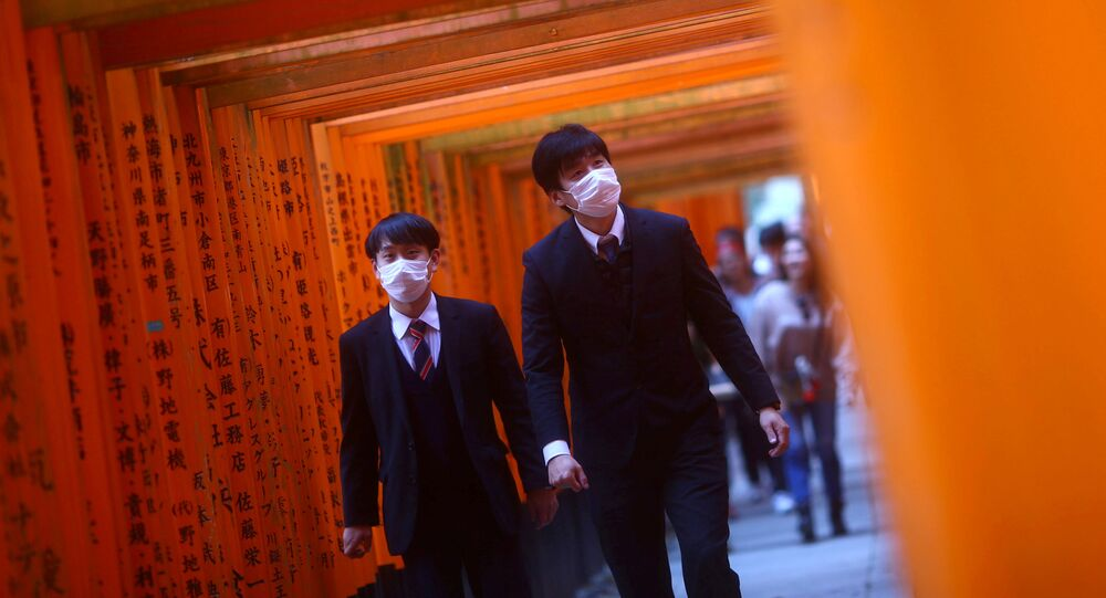 Những người đeo khẩu trang ở Kyoto, Nhật Bản.