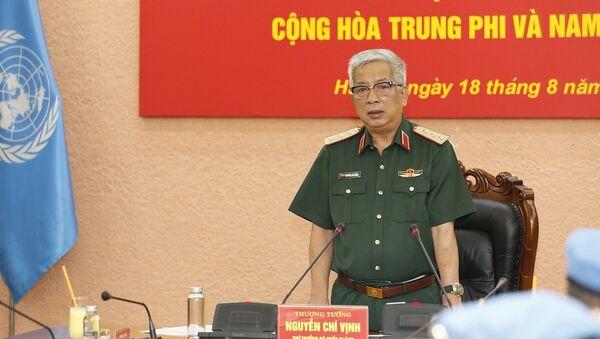 Thượng tướng Nguyễn Chí Vịnh, Thứ trưởng Bộ Quốc phòng giao nhiệm vụ cho các sĩ quan đi làm nhiệm vụ gìn giữ hòa bình Liên hợp quốc - Sputnik Việt Nam