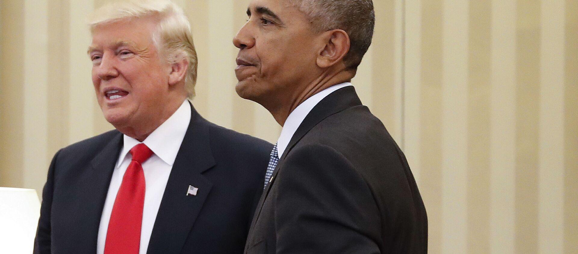 Tổng thống Hoa Kỳ Barack Obama và Tổng thống Hoa Kỳ mới đắc cử Donald Trump trong một cuộc gặp - Sputnik Việt Nam, 1920, 22.10.2020