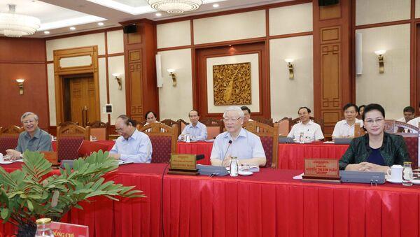 Tổng Bí thư, Chủ tịch nước Nguyễn Phú Trọng chủ trì buổi làm việc. - Sputnik Việt Nam