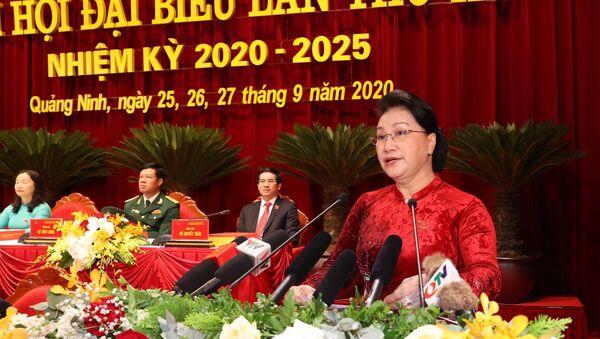Ủy viên Bộ Chính trị, Chủ tịch Quốc hội Nguyễn Thị Kim Ngân phát biểu chỉ đạo Đại hội. - Sputnik Việt Nam