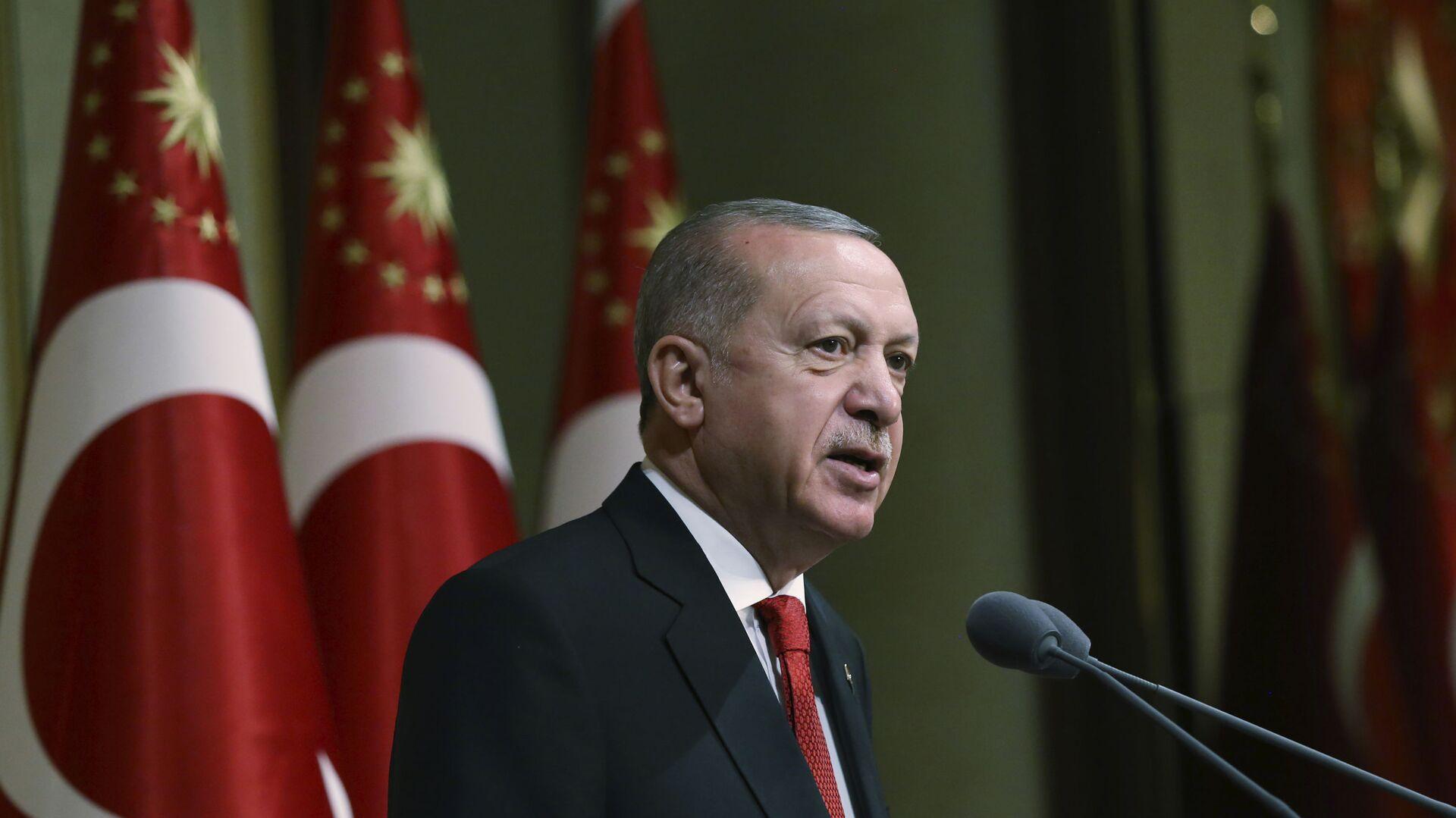 Tổng thống Thổ Nhĩ Kỳ Recep Tayyip Erdogan phát biểu tại dinh thự tổng thống ở Ankara - Sputnik Việt Nam, 1920, 18.05.2021
