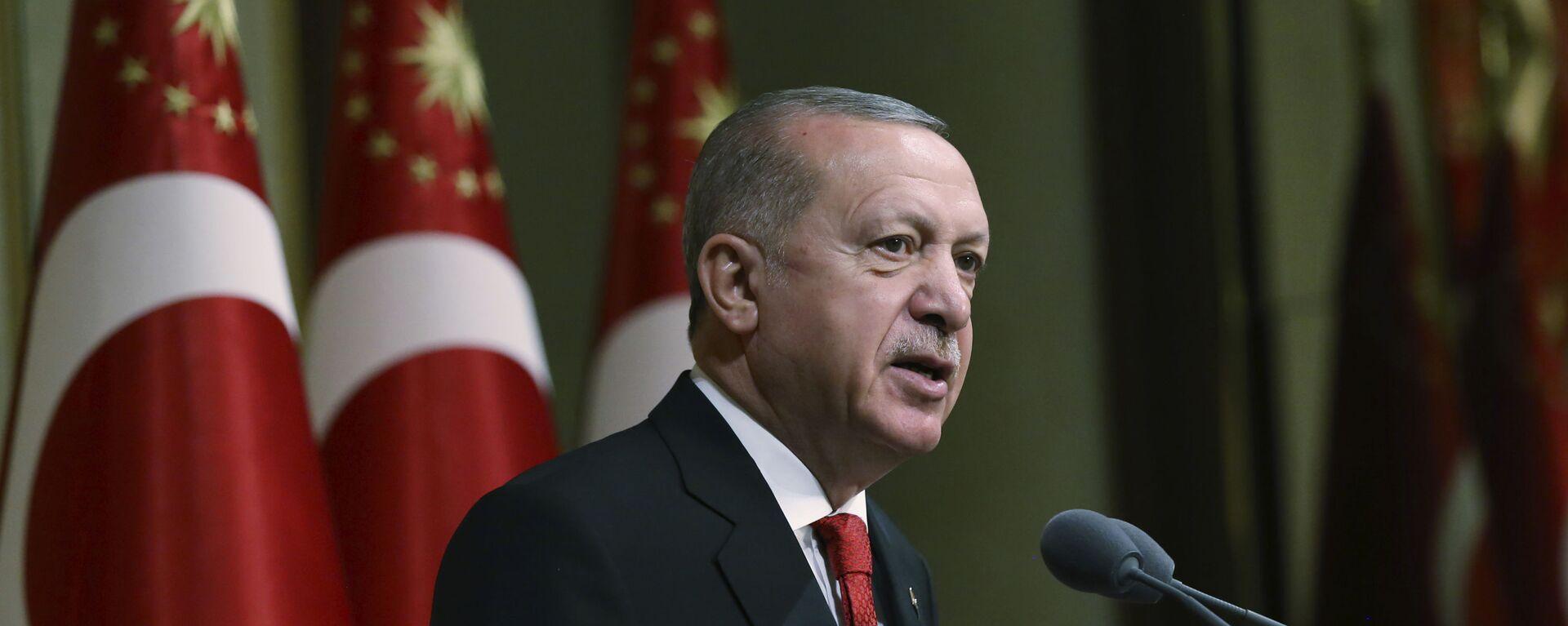 Tổng thống Thổ Nhĩ Kỳ Recep Tayyip Erdogan phát biểu tại dinh thự tổng thống ở Ankara - Sputnik Việt Nam, 1920, 23.09.2021