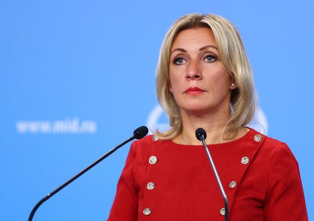 Đại diện chính thức của Bộ Ngoại giao Nga Maria Zakharova trong cuộc họp giao ban tại Moscow