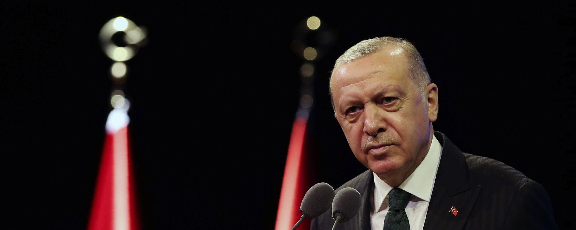 Tổng thống Thổ Nhĩ Kỳ Recep Tayyip Erdogan phát biểu tại dinh thự tổng thống ở Ankara - Sputnik Việt Nam, 1920, 19.03.2021