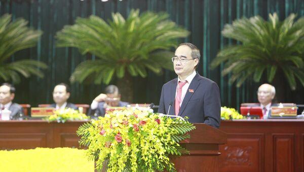 Đồng chí Nguyễn Thiện Nhân, Bí thư Thành ủy TP. Hồ Chí Minh phát biểu tại đại hội. - Sputnik Việt Nam