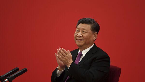 Chủ tịch Trung Quốc Tập Cận Bình trong buổi phát trực tuyến với Tổng thống Nga Putin. Lưu trữ ảnh - Sputnik Việt Nam