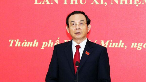 Đồng chí Nguyễn Văn Nên, Bí thư Trung ương Đảng, Bí thư Thành ủy Thành phố Hồ Chí Minh nhiệm kỳ 2020 – 2025 phát biểu tại buổi họp báo - Sputnik Việt Nam
