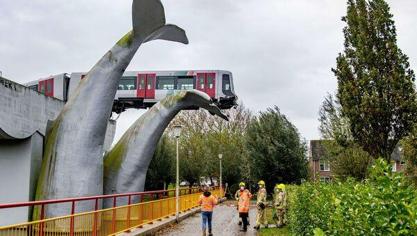 Đoàn tàu mắc kẹt vào tác phẩm điêu khắc Đuôi cá voi ở thành phố Speikeniss, Hà Lan. - Sputnik Việt Nam
