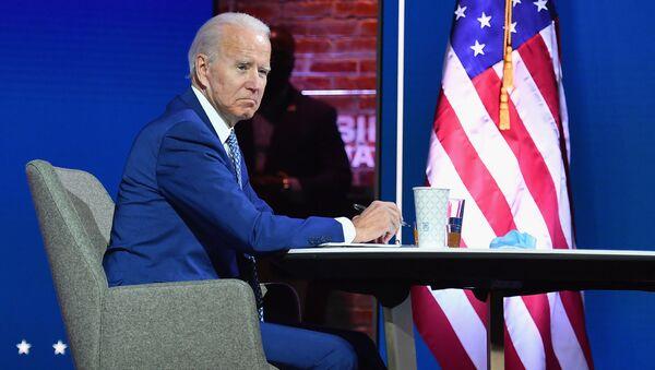 Ứng cử viên tổng thống đảng Dân chủ Joe Biden phát biểu trước cử tri sau khi truyền thông công bố Biden thắng cử tại Hoa Kỳ - Sputnik Việt Nam