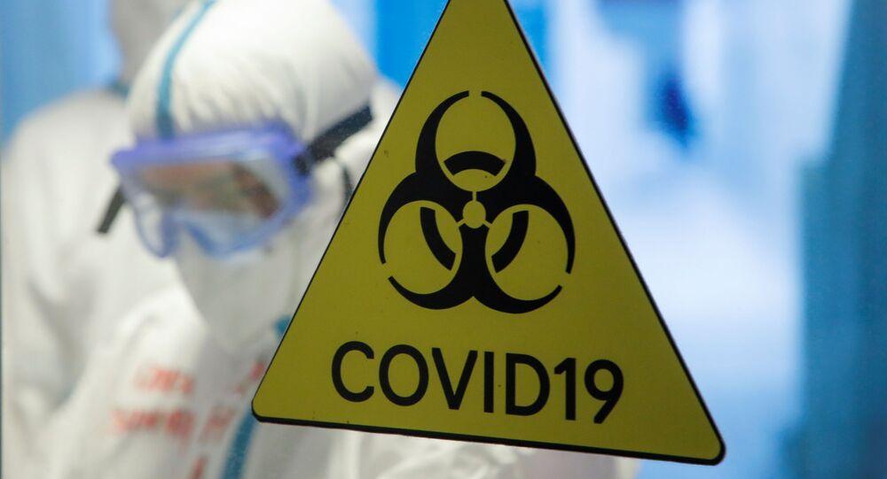Dấu hiệu nguy hiểm sinh học tại bệnh viện tạm thời ở Cung thể thao băng Krylatskoye