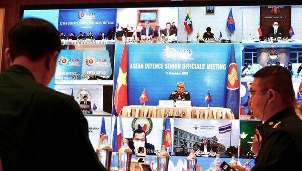 Hội nghị Quan chức Quốc phòng cấp cao ASEAN (ADSOM) tại điểm cầu Hà Nội. - Sputnik Việt Nam