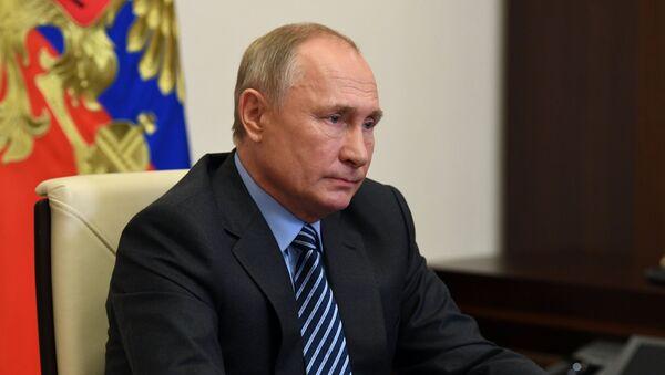 Ngày 13 tháng 11 năm 2020. Tổng thống Nga Vladimir Putin tham gia cầu truyền hình tại phiên họp toàn thể của diễn đàn Những ý tưởng mạnh mẽ cho thời đại mới - Sputnik Việt Nam