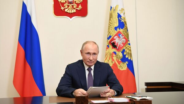 Tổng thống Nga V.Putin phát biểu trước các đại biểu tham dự diễn đàn Bài học về Nuremberg - Sputnik Việt Nam