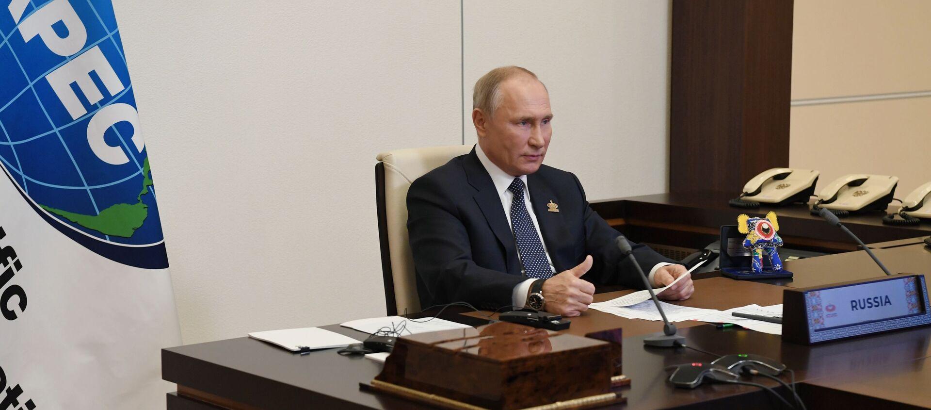 Tổng thống Nga V.Putin tham dự cuộc họp của các nhà lãnh đạo các nền kinh tế của Diễn đàn APEC - Sputnik Việt Nam, 1920, 20.11.2020
