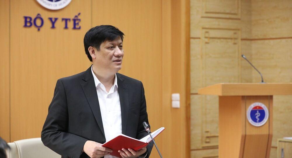 Bộ trưởng Bộ Y tế Nguyễn Thanh Long phát biểu.