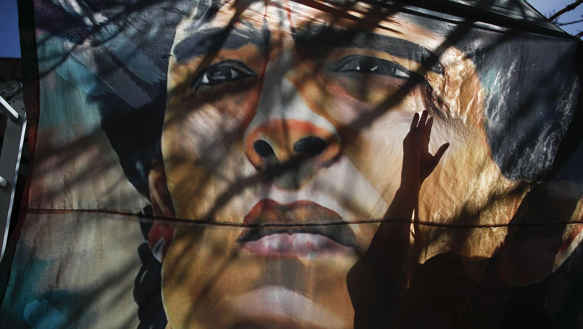 Biểu ngữ có hình Diego Maradona tại một bệnh viện ở Argentina - Sputnik Việt Nam, 1920, 11.03.2021