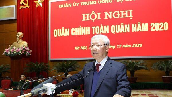 Tổng Bí thư, Chủ tịch nước Nguyễn Phú Trọng, Bí thư Quân ủy Trung ương phát biểu chỉ đạo Hội nghị.  - Sputnik Việt Nam
