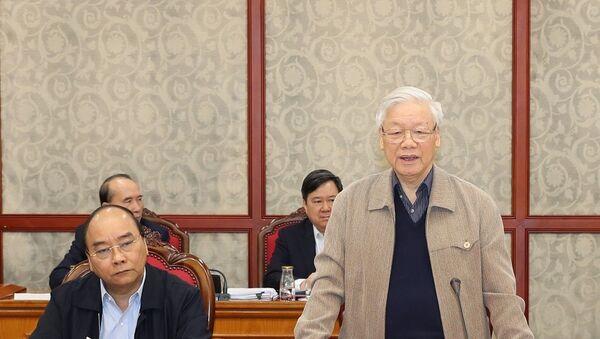 Tổng Bí thư, Chủ tịch nước Nguyễn Phú Trọng phát biểu chỉ đạo cuộc họp. - Sputnik Việt Nam