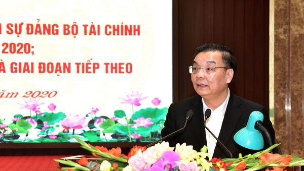 Ủy viên Trung ương Đảng, Phó Bí thư Thành ủy, Chủ tịch UBND thành phố Hà Nội Chu Ngọc Anh trình bày báo cáo tại hội nghị. - Sputnik Việt Nam