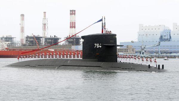 Thủy thủ Đài Loan trên tàu ngầm Hà Lan trong lễ khởi công nhà máy xây dựng tàu ngầm Cao Hùng - Sputnik Việt Nam
