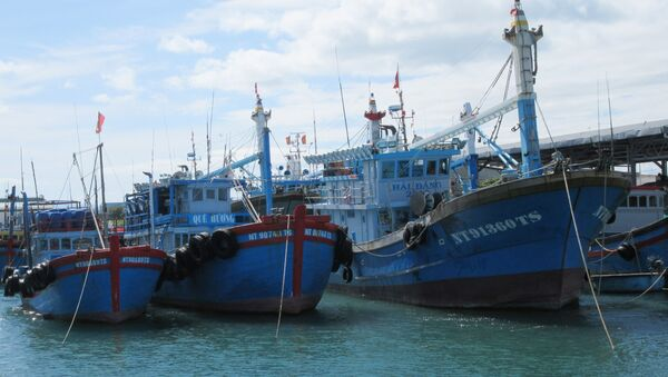 Tàu cá khai thác xa bờ của ngư dân neo đậu tại bến cá Mỹ Tân (xã Thanh Hải, huyện Ninh Hải).  - Sputnik Việt Nam