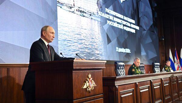 Tổng thống Nga Vladimir Putin phát biểu tại cuộc họp Hội đồng Bộ Quốc phòng - Sputnik Việt Nam