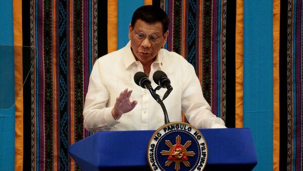 Tổng thống Philippines Rodrigo Duterte phát biểu trước quốc dân ở thành phố Quezon, Philippines. - Sputnik Việt Nam