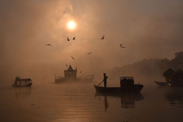 Người đi thuyền trên dòng sông sương mù ở Ấn Độ - Sputnik Việt Nam