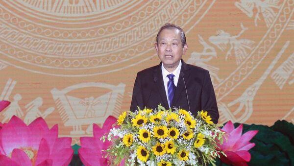 Ủy viên Bộ Chính trị, Phó Thủ tướng Thường trực Chính phủ Trương Hòa Bình phát biểu tại buổi lễ.  - Sputnik Việt Nam