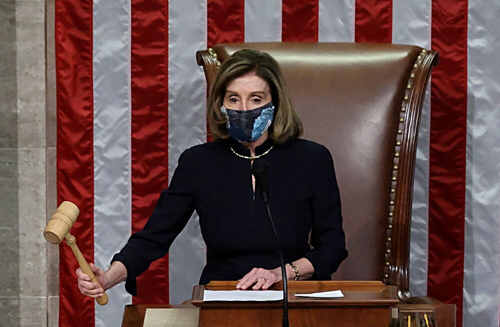 Chủ tịch Hạ viện Dân chủ Nancy Pelosi trong thời gian bỏ phiếu luận tội Tổng thống Mỹ Donald Trump