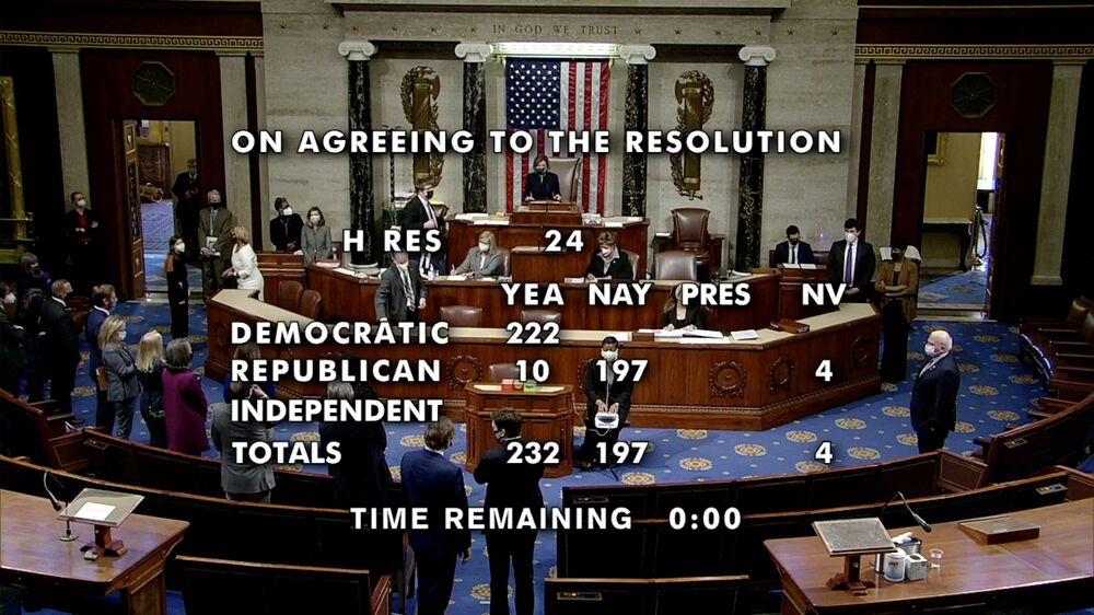Chủ tịch Hạ viện Nancy Pelosi trong cuộc bỏ phiếu luận tội Tổng thống Mỹ Donald Trump