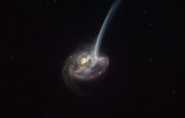 """Thiên hà ID2299 phun ra lượng khí lạnh khổng lồ khi hợp nhất khiến """"đuôi thủy triều"""" xuất hiện   - Sputnik Việt Nam"""