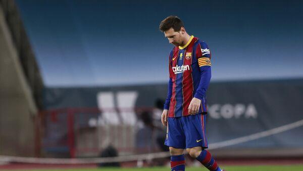 Đội trưởng Lionel Messi của Barcelona sau trận Siêu cúp Tây Ban Nha giữa Barcelona và Athletic Bilbao - Sputnik Việt Nam