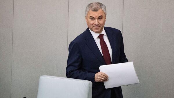 Chủ tịch Duma Quốc gia Liên bang Nga Viacheslav Volodin tại phiên họp toàn thể đầu tiên của kỳ họp mùa xuân của Duma Quốc gia - Sputnik Việt Nam