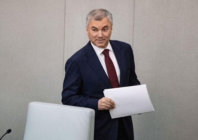Chủ tịch Duma Quốc gia Liên bang Nga Viacheslav Volodin tại phiên họp toàn thể đầu tiên của kỳ họp mùa xuân của Duma Quốc gia