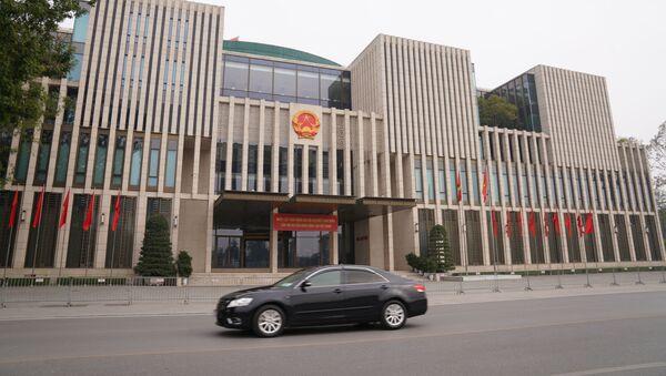 Tòa nhà Quốc hội Việt Nam được trang hoàng chào mừng Đại hội lần thứ 13 của Đảng Cộng sản Việt Nam  - Sputnik Việt Nam