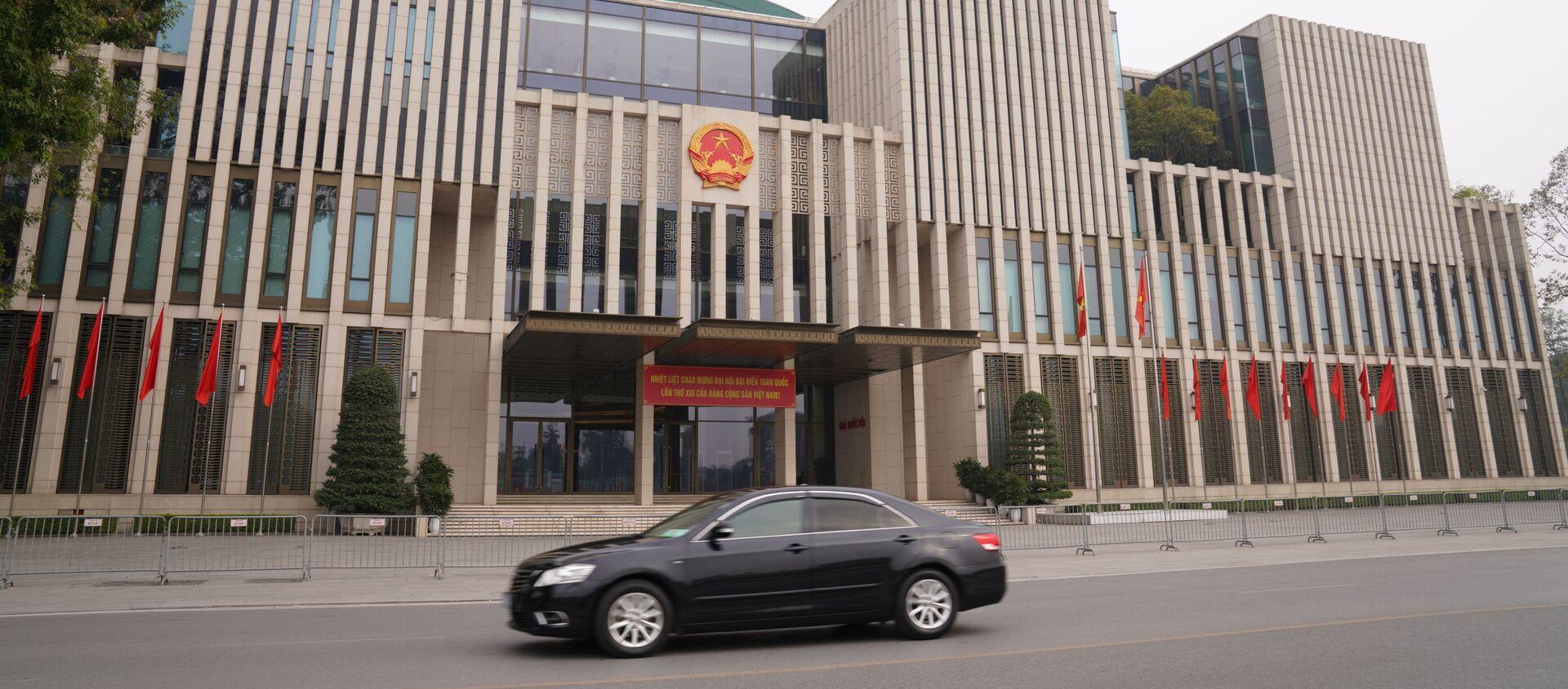 Tòa nhà Quốc hội Việt Nam được trang hoàng chào mừng Đại hội lần thứ 13 của Đảng Cộng sản Việt Nam  - Sputnik Việt Nam, 1920, 14.03.2021