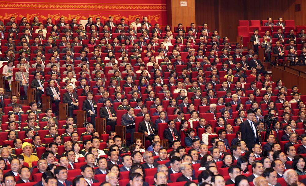 Các đại biểu trong lễ khai mạc Đại hội lần thứ XIII của Đảng Cộng sản Việt Nam tại Hà Nội