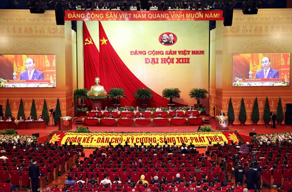 Thủ tướng Việt Nam Nguyễn Xuân Phúc phát biểu trong lễ khai mạc Đại hội lần thứ XIII của Đảng Cộng sản Việt Nam tại Hà Nội