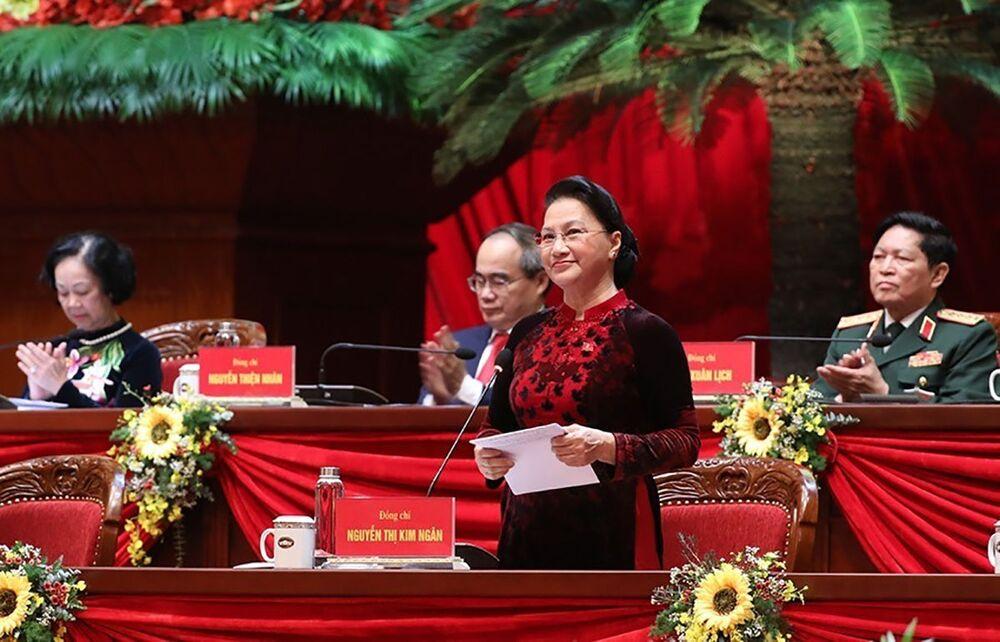 Chủ tịch Quốc hội Việt Nam Nguyễn Thị Kim Ngân trong lễ khai mạc Đại hội lần thứ XIII của Đảng Cộng sản Việt Nam tại Hà Nội