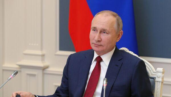 Tổng thống Nga V.Putin phát biểu tại phiên thảo luận của Diễn đàn trực tuyến Chương trình nghị sự Davos 2021 - Sputnik Việt Nam