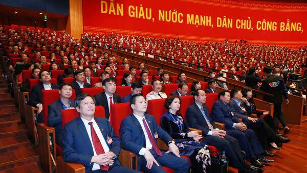 Đoàn đại biểu Đảng bộ tỉnh Bắc Ninh dự phiên thảo luận các văn kiện đại hội tại hội trường, sáng 28/1. - Sputnik Việt Nam