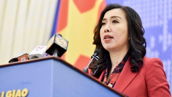 Người phát ngôn Bộ Ngoại giao Lê Thị Thu Hằng thông báo một số hoạt động đối ngoại của Việt Nam. - Sputnik Việt Nam