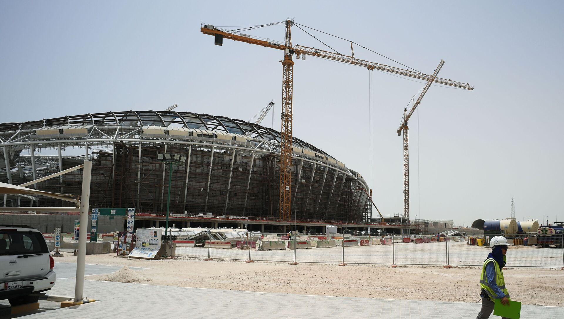 Việc xây dựng sân vận động Al-Wakrah ở thành phố Doha, nơi sẽ diễn ra World Cup 2022 - Sputnik Việt Nam, 1920, 26.03.2021