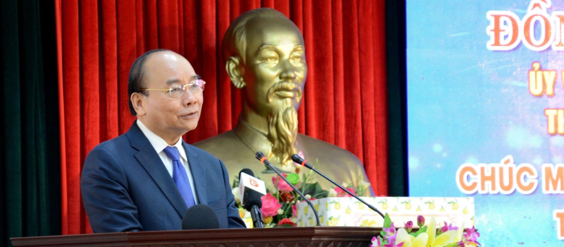 Thủ tướng Nguyễn Xuân Phúc phát biểu tại Bộ Chỉ huy Bộ đội Biên phòng thành phố Đà Nẵng. - Sputnik Việt Nam, 1920, 12.02.2021