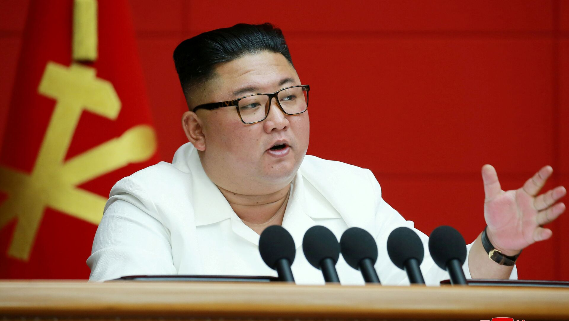 Lãnh đạo CHDCND Triều Tiên Kim Jong-un phát biểu tại cuộc họp toàn thể của Ủy ban Trung ương Đảng Công nhân Hàn Quốc - Sputnik Việt Nam, 1920, 18.05.2021
